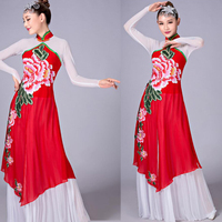 Chinese classical dance costumes yangko dance green Gradient costumes female national dance drum wear stage performance clothes
