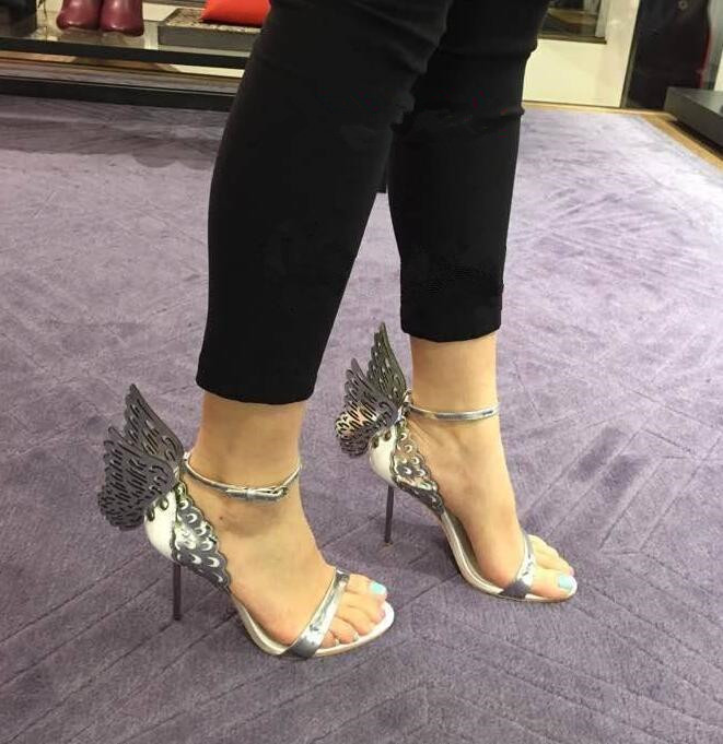 Golden Butterfly Wing Back Ladies Sexy High Heels 2018 Fashion Strap Sandals Suede Leather Sandals Ankle Buckle Stiletto Size 42 in High Heels from Shoes