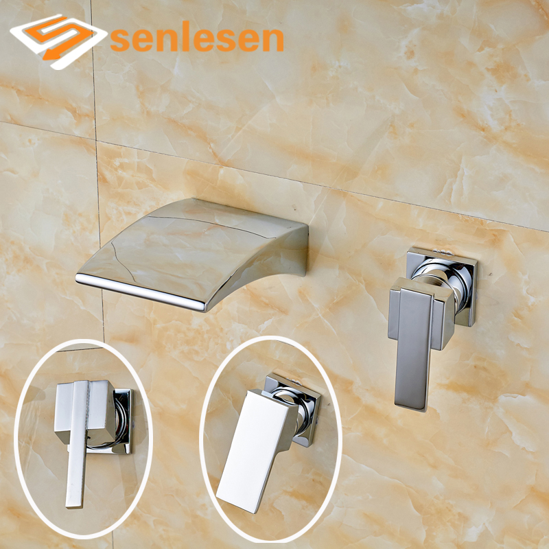 Wholesale and Retail Bathroom Basin Sink Mixer Taps Chrome Finish Wall Mounted wholesale and retail chrome finish bathroom wall mounted basin sink countertop faucet