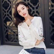 New 2018 female blouse Casual blue white shirt autumn winter flower print long sleeve sexy v neck blouse women tops blusas 817H