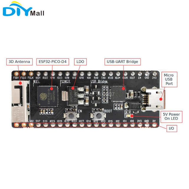 US $59 74  5pcs/lot ESP32 PICO KIT V4 ESP32 Development Board WiFi  Bluetooth Module for Arduino-in Home Automation Modules from Consumer  Electronics