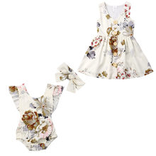 Family Matching Outfits Newborn Infant Baby Girls Ruffle Romper Bodysuit Jumpsuit headband Outfits(China)