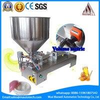 Shampoo Lotion Cream Yoghourt Honey Hopper Paste Filling Machine Pneumatic Semi Filler Piston Hopper Filler