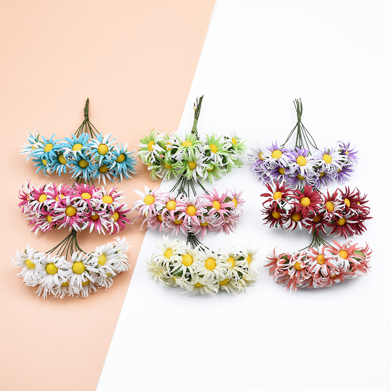 10pcs silk Crab claw daisy bouquet for vases decorative flowers wreaths diy gifts candy box wedding home decor artificial flower