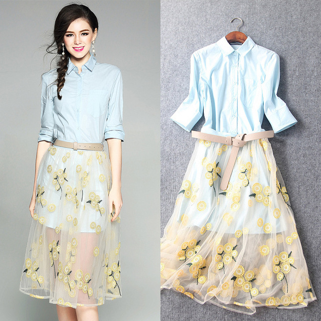 Women Skirt Suits 2017 Spring Summer New Brief Light Blue Turn Down Collar Long Shirt + Gauze Embroidered Yellow Skirt 2 PCS Set