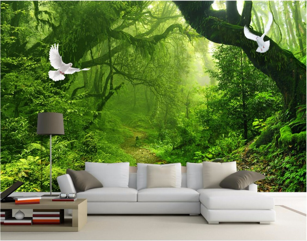 Wdbh Custom Mural 3d Wallpaper Green Forest Trees Home