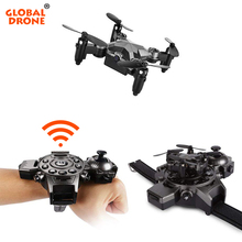 Global Drone GW-D8 Mini Drone Watch Design One Key Take-off/Land Novelty Toys for boys Drones with Camera HD Dron Quadrocopter