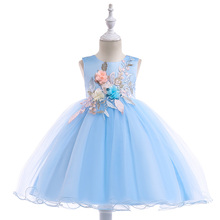 2020 新スタイルレースガールパーティードレスエレガントなアップリケフラワーガールのプリンセスドレス夏の女の子のドレス 3 8 年 L5029