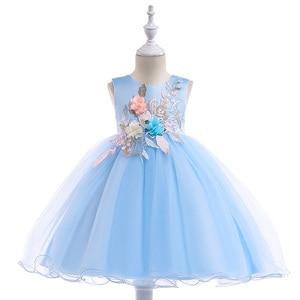Image 1 - 2020 חדש סגנון תחרה ילדה מסיבת שמלות אלגנטי אפליקציות פרח ילדה נסיכת שמלת ילדה קיץ ילדה שמלת 3 8 שנה L5029