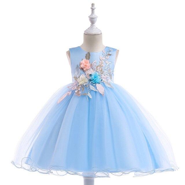 2020 חדש סגנון תחרה ילדה מסיבת שמלות אלגנטי אפליקציות פרח ילדה נסיכת שמלת ילדה קיץ ילדה שמלת 3 8 שנה L5029
