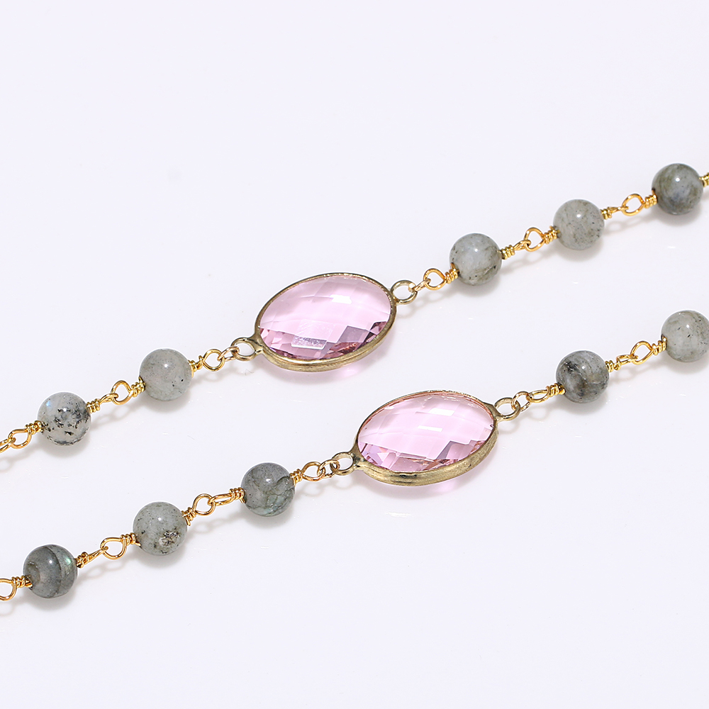 Bohemian Pink Agates Necklace Natural Labradorite Bead Chain Yoga Necklaces Black Obsidian Gemstone Pendant Necklaces For Women in Necklaces from Jewelry Accessories