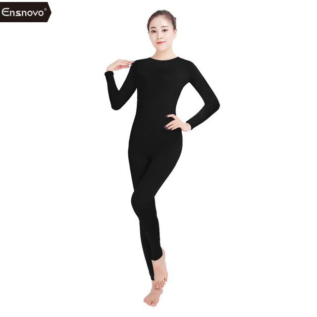 Ensnovo Women Ballet Jumpsuit Long Sleeve Unitard Round Collar Costume  Lycra Nylon Spandex Dancewear Bodysuit Gymnastic Unitards 25b7b600fc0b