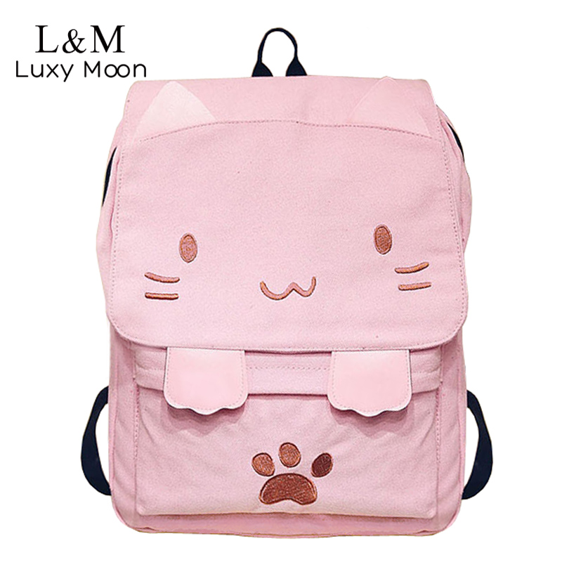 Cute Canvas Backpack Cartoon Cat Embroidery School Bag For Teenage Girls Backpacks Casual Ears Large Bags Pink Mochila XA909H