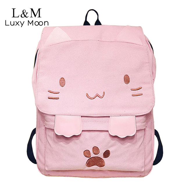 e5e428336027 Cute Canvas Backpack Cartoon Cat Embroidery School Bag For Teenage Girls  Backpacks Casual Ears Large Bags