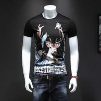 Printed Deer Cotton t shirt men Short Sleeve Quality Tops Mens Slim Fit Short Tees Fashion Black Casual Streetwear T shirts