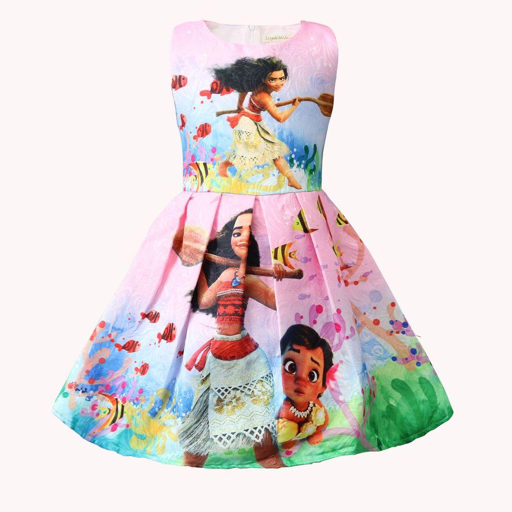 New Prom Kleider 2018 Sommer Moana Mädchen Kleid Kinder Muster ...