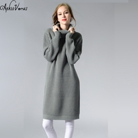 Women Long Sweater Turtleneck Fashion Ladies Autumn Winter Retro Pullover Thick Knit Sweater Dress Warm Tops
