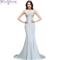 Long Silver Prom Dress Vestido de Festa Floor Length Party Gown Embroidery Evening Dress Mermaid Prom Dresses 2019 with Beaded