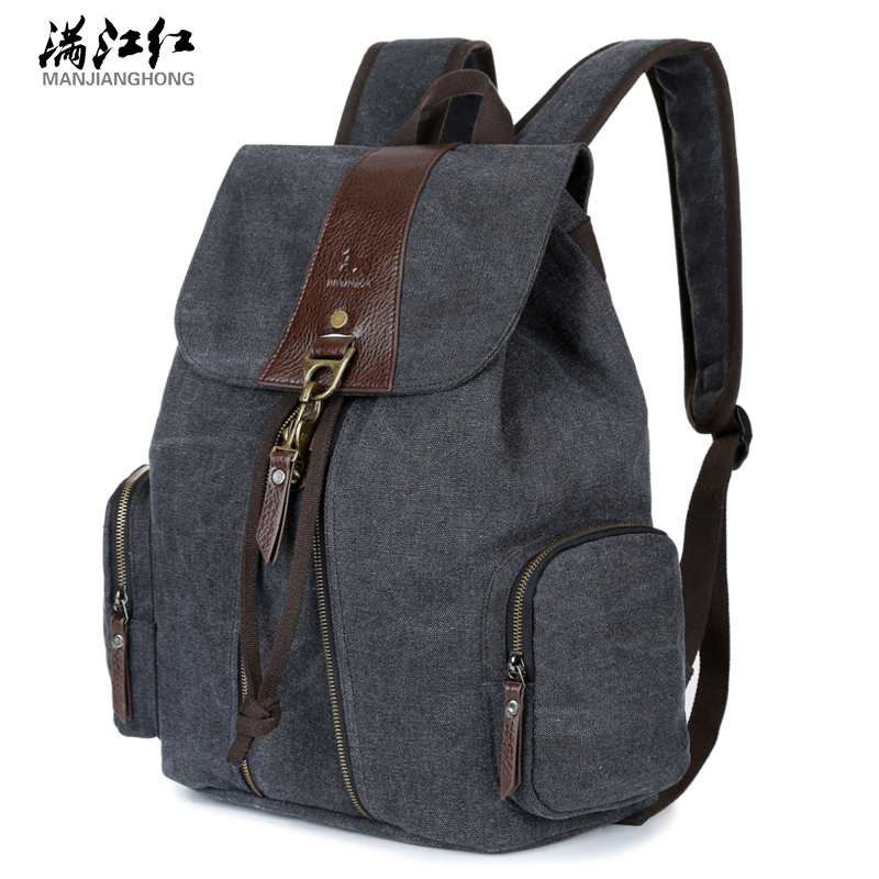Canvas Vintage Backpack Fashion Men And Women Double Shoulder Bag Casual String Military