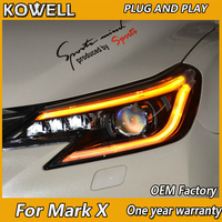KOWELL Car Styling for Toyota Reiz Headlights 2014 2016 New Mark X LED Headlight Bi Xenon Head Lamp LED DRL Car Lights