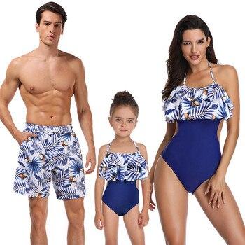 99aafa016 2019 nueva moda impresa familia traje de baño madre e hija traje de baño  Bikini padre e hijo playa pantalones Venta caliente