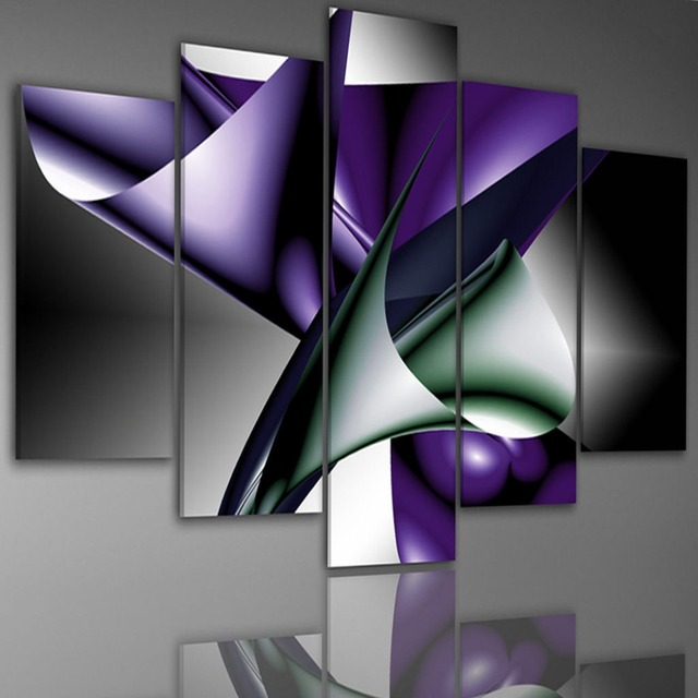 Framed 5 Panel Large Purple Abstract Painting Wall Art Canvas ...