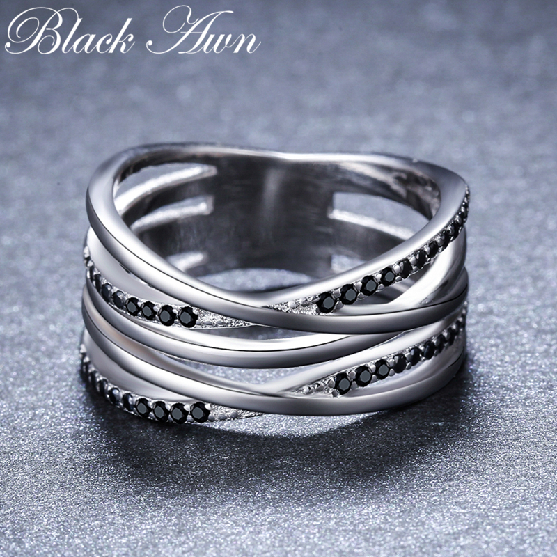 2019 New Simple 925 Sterling Silver Fine Jewelry Engagement Black Spinel Round Engagement  Ring For Women Anillos Mujer G063