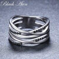 2019 новый простой 925 стерлингового серебра прекрасное ювелирное дело Черный шпинель Круглый Обручальное кольцо для женщин G063