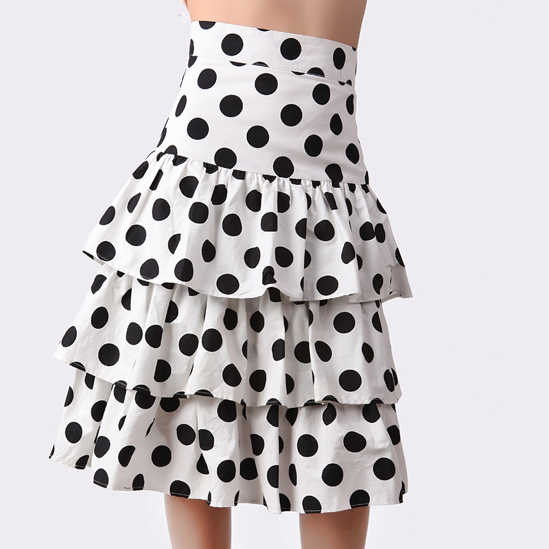 Women's New Black White Polka Dot Ruffles Chiffon Skirt Ladies Runway Designer Boutique Cute Retro Cake Skirts
