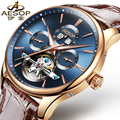 AESOP 9022 Switzerland watches men luxury brand skeleton Perpetual calendar automatic mechanical Tourbillon blue Leather