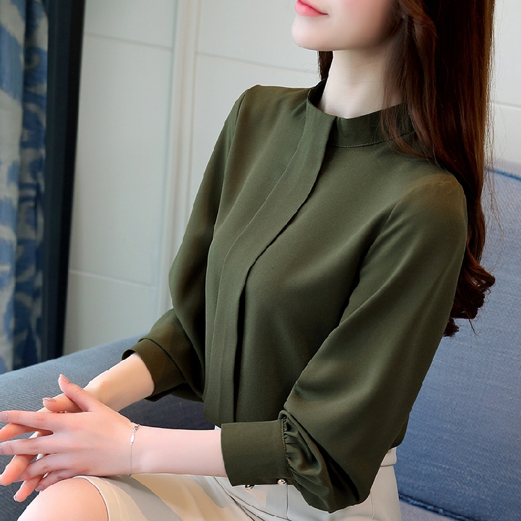 BIBOYAMALL Black Blouse Women Chiffon Office Career Shirts Tops Spring Fashion Casual Long Sleeve Blouses Femme Blusa Plus size