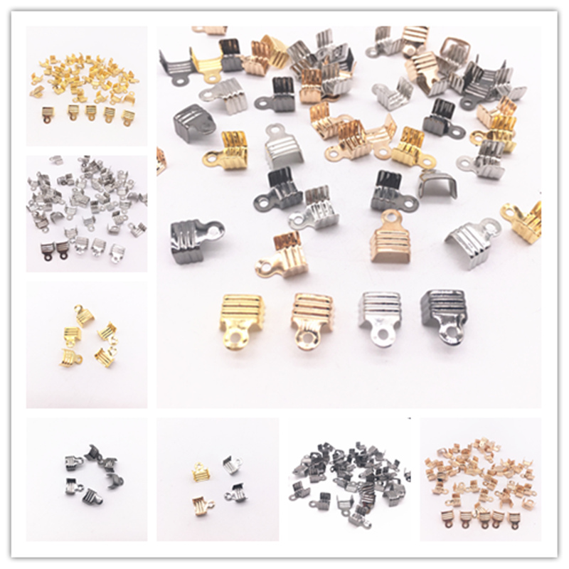 50Pcs Width 8mm Cord End Tip Fold Over Clasp Crimp Bead Connector Gold Silver Gun Black Dull Silver Plated DIY Jewelry Making