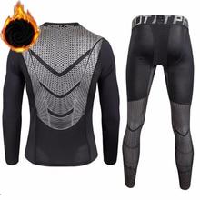 Men Thick Plus Velvet Thermal Underwear Sets Male Fitness Gymming Sportting Winter Men's O-Neck Cash