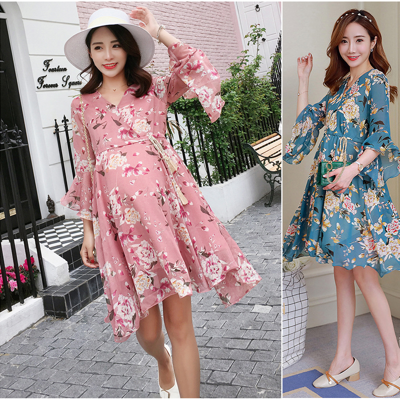Dress for Pregnancy Woman Short Chiffon Summer Maternity Dresses Clothing Floral Maternity Nursing Dress Women Long Dresses ...