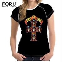 FORUDESIGNS Black 3D Women Short Sleeve T Shirt Casual Rock Band Guns N Roses Tee Tops