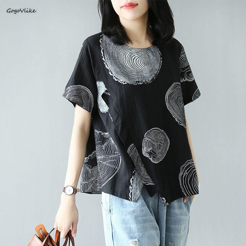 Female Geometric Tee Shirts 2019 Summer Ladies Linen Tops Womens Oversized Batwing Tshirt Vintage Casual Shirt LT206SS50