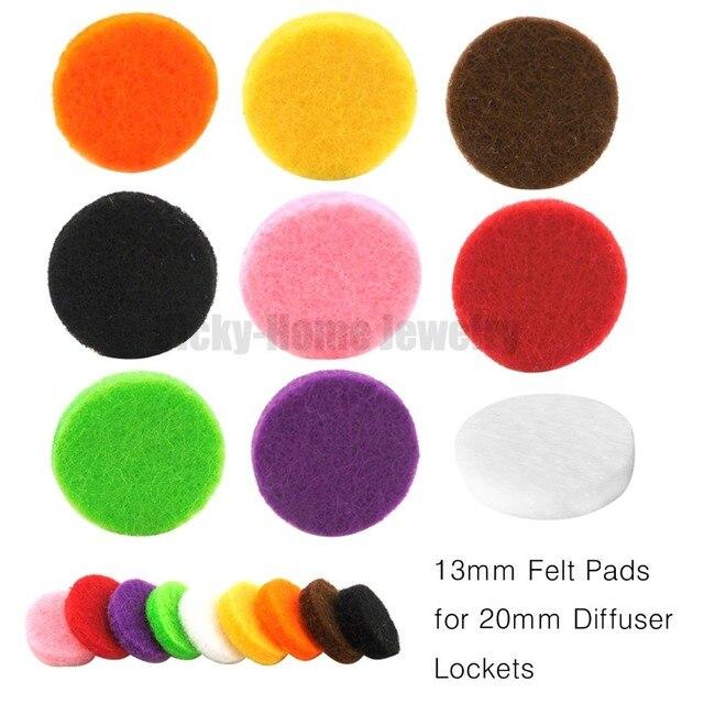 Almohadillas de fieltro de 13mm para medallón de 20mm coloridas envío gratis aceites esenciales difusor medallón de Perfume almohadillas de repuesto-redondo blanco