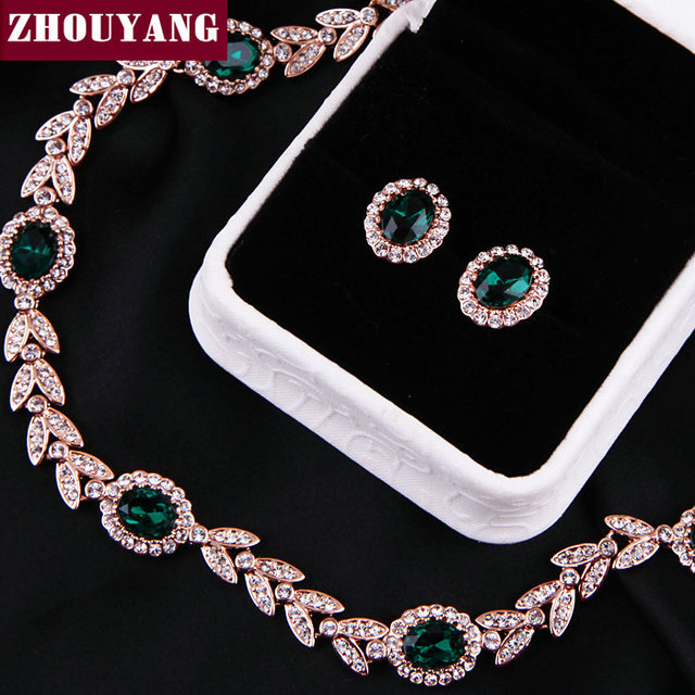 ZHOUYANG ZYS067 Noble Green Crystal  Gold Plated Jewelry Necklace Earring Set Rhinestone Made with Austrian  Crystal Health