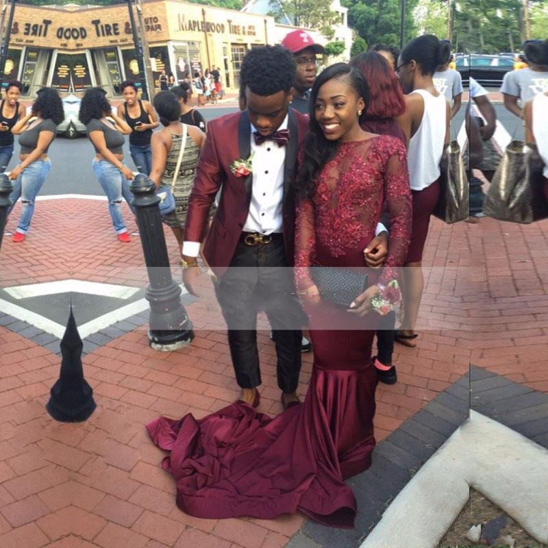 Sexy See Through African Girls Burgundy Mermaid   Prom     Dresses   2019 Long Sleeve Appliques Lace Women Long Party Evening Gowns