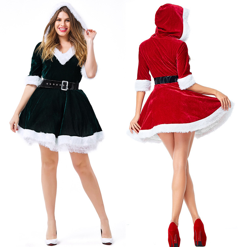 Velvet Red V-neck Bubble Hooded Christmas Dress Costumes Cosplay For Woman  Christmas Party Cosplay