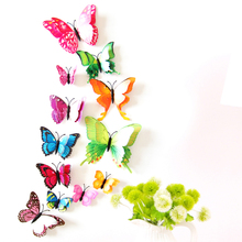 12pcs Mix Size 3D Butterfly Decals Creative Double-Layer Color Butterfly Wall Stickers