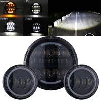 OTBS 7 zoll 80W LED scheinwerfer 4 5 inch Nebel Licht Vorbei Lampen  für Harley Motorrad  softail Heritage StreetGlide