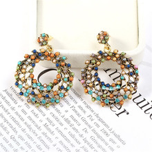 CRLEY Bohemia acrylic earrings for women Ethnic big circle round hollow tassel earring Vintage metal wooden beads earing jewelry