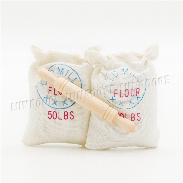 Odoria 1 12 Miniature 2 Bags Of Flour And 1 Rolling Pin Set