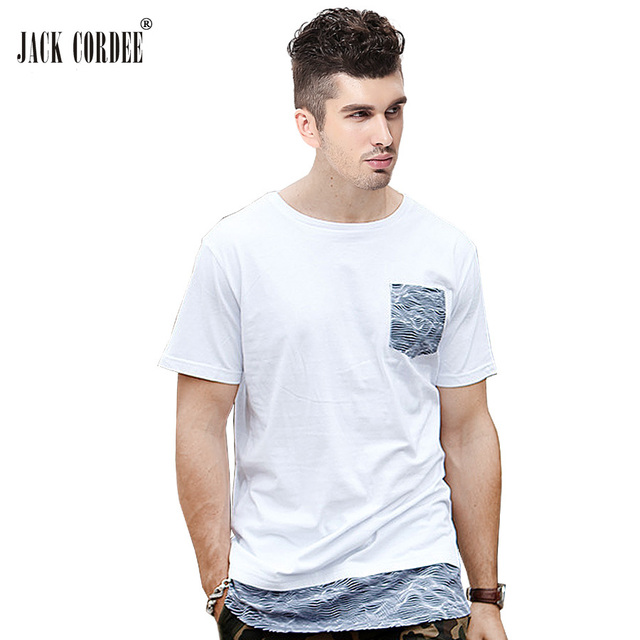 JACK CORDEE Fashion T Shirt Men Cotton White Streetwear Longline Tee Shirt  Striped Pocket Tshirt Male Hip Hop Summer T-Shirt Top e8f7ab33c83a