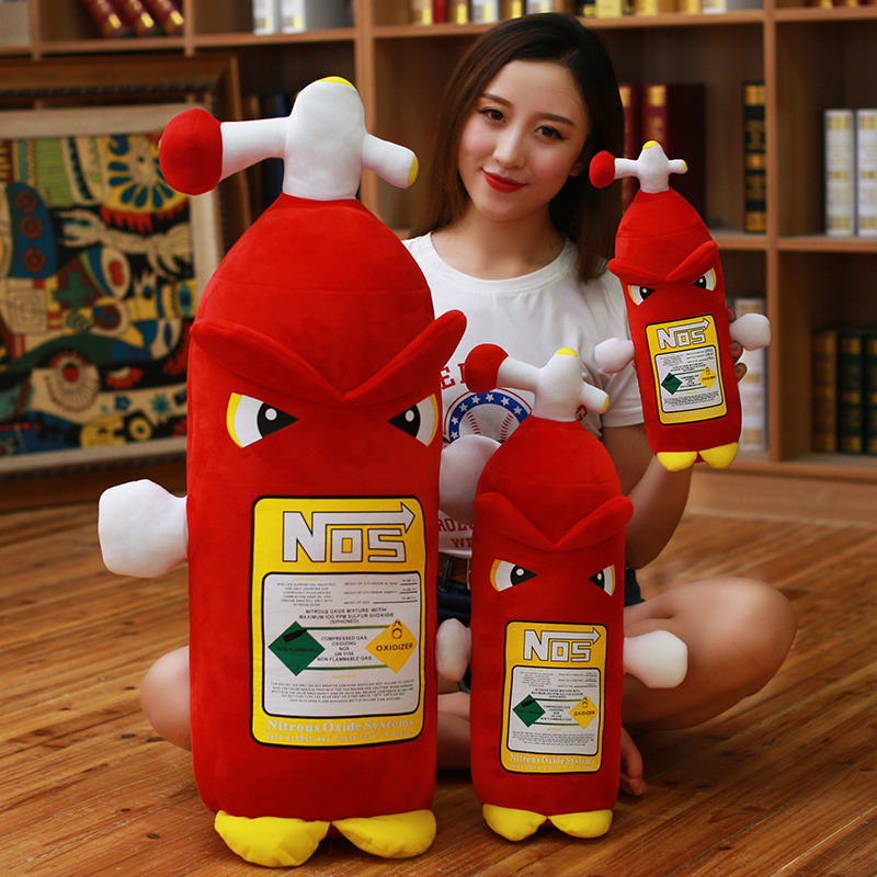 Creative Plush Toy NOS Nitrous Oxide Bottle Pillow Simulation Fire Extinguisher Turbo JDM Cushion Headrest Backrest