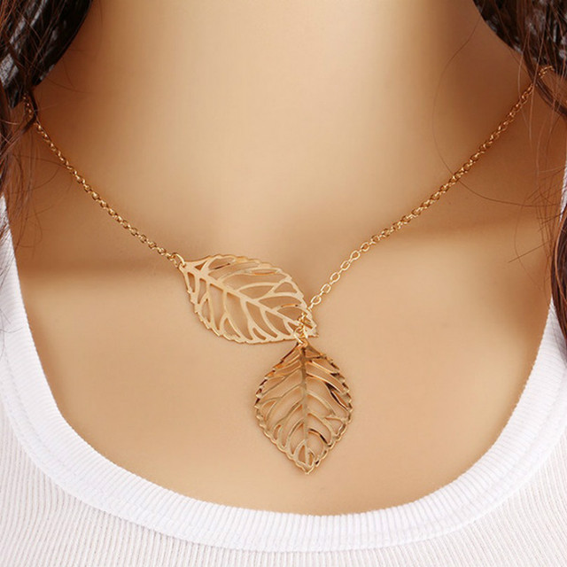Fashion Jewelry New Gold And Silver Two - Leaf Pendant Necklace Multi - Layer St