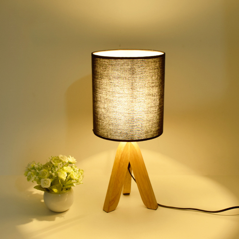 Novel wooden Table Lamp 300mm Modern Industrial lamp wood&cloth table lamp for reading Style desk lighting E14 lamp ZZD0001 north european style retro minimalist modern industrial wood desk lamp bedroom study desk lamp bedside lamp