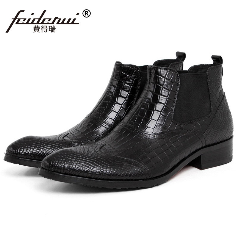 New Arrival Crocodile Man Brogue Oxford Shoes Male British Designer Genuine Leather Round Toe Men's Chelsea Ankle Boots PF40 new arrival superstar genuine leather chelsea boots women round toe solid thick heel runway model nude zipper mid calf boots l63