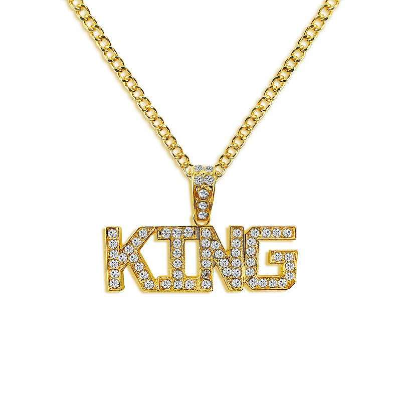 aff3842d82d Gold And Silver Hip Hop Pendants Necklaces Men s Letters Hip Hop Jewelry  Chain Rhinestone Necklaces Jewelry